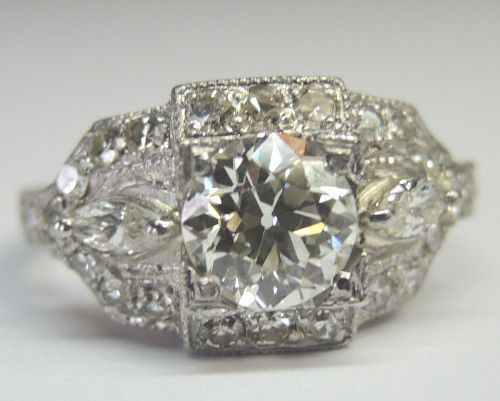 Antique European Diamond Engagement Ring Platinum Art Deco Vintage Estate Bridal #Engagement