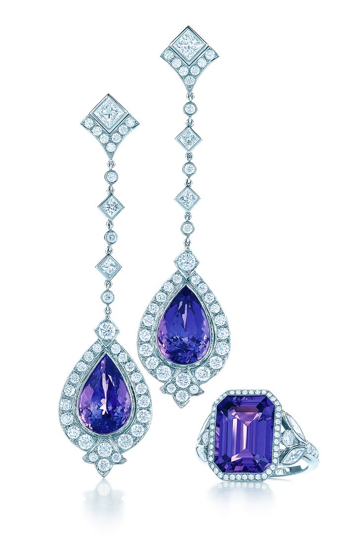 Tanzanite earrings and ring in platinum with diamonds. Tiffany and Co