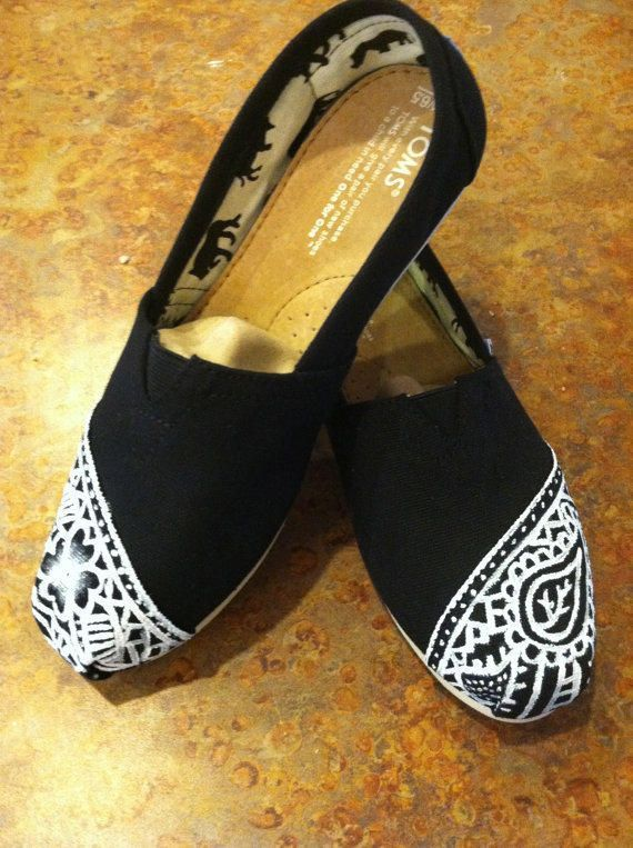 follow me @cushite Henna TOMS from dafonteart on Etsy. Saved to Shoes. #toms #henna #love #black #cute #white #shoes #lace.