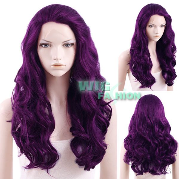 "24"" Heat Resistant Long Curly Wavy Dark Purple Lace Front Hair Wig #WigFashion #FullWig"