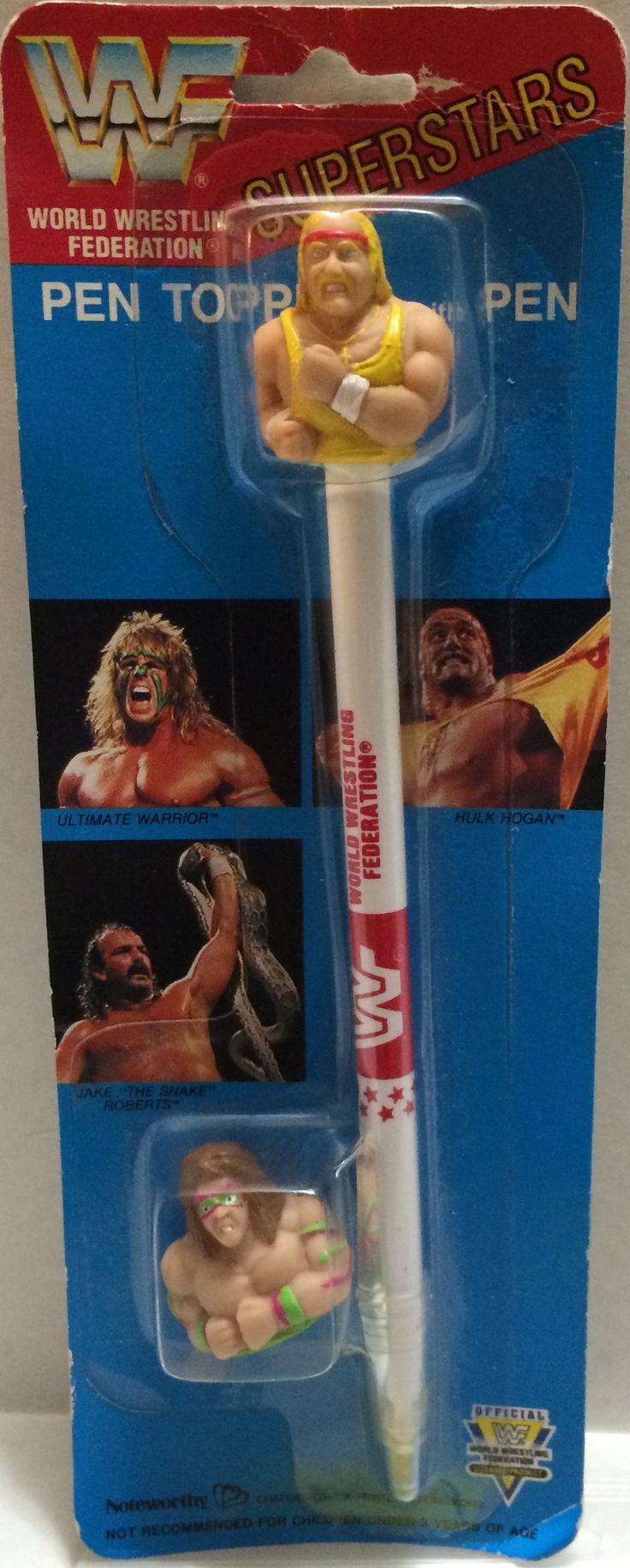 (TAS032758) - Titan Sports Wrestling Superstars Pen Topper- Hulk Hogan & Warrior