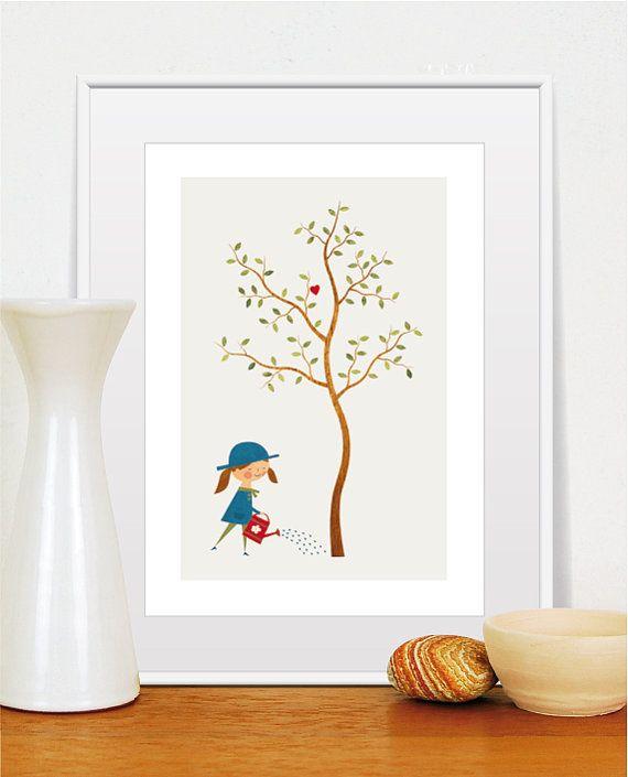 kunst aan de muur boom boom behang boom afdrukken door TomasDesign