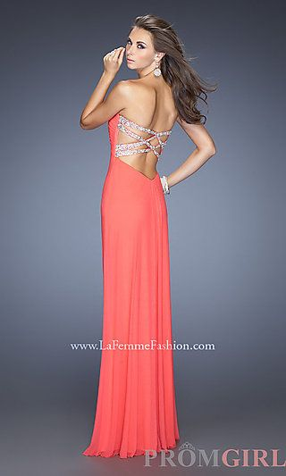 Strapless Open Back Prom Dress by La Femme 19975 at PromGirl.com