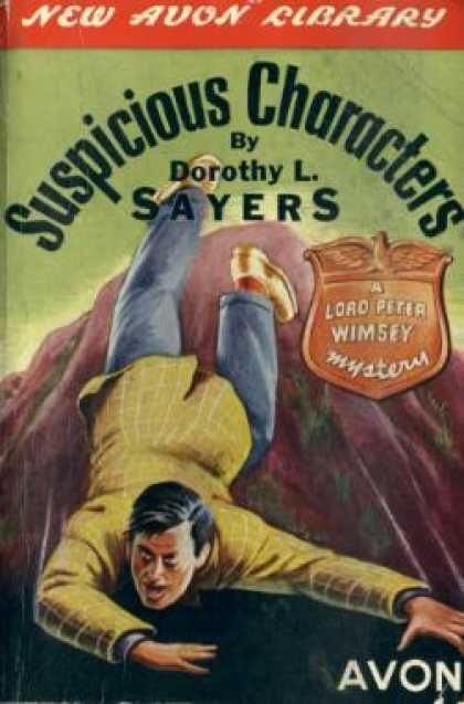 """""""Suspicious Characters"""" (the renamed version of """"Five Red Herrings"""") by Dorothy L. Sayers. Presumably, this shows the death of the painter Campbell, which opens the book."""