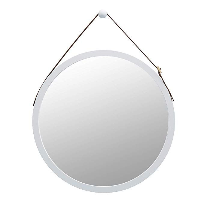 Amazon Com Domax Bathroom Mirror Wall Mount 15 Inch Bamboo Frame Hanging Strap Round Bedroom Dressing Mirror Hook Offere Bamboo Frame Bathroom Mirror Mirror