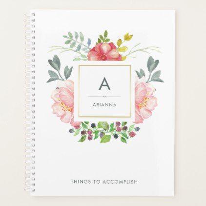 Feminine Trendy Watercolor Peony Flowers Monogram Planner - girly gifts special unique gift idea custom