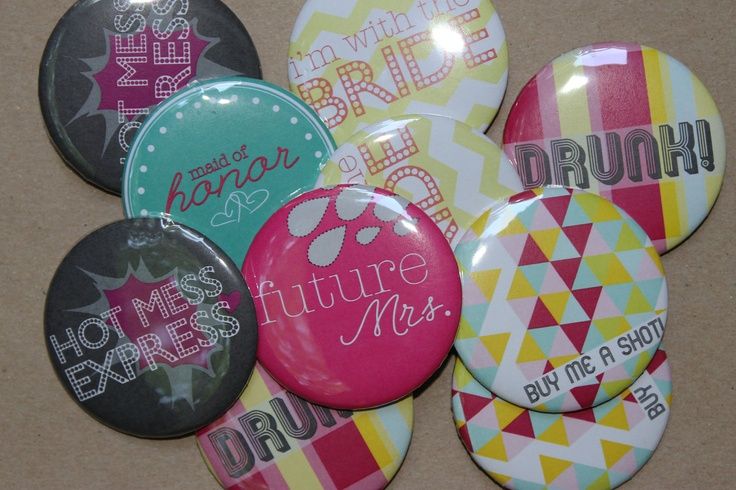 Bachelorette Party Buttons- Set 1. $8.00, via Etsy.