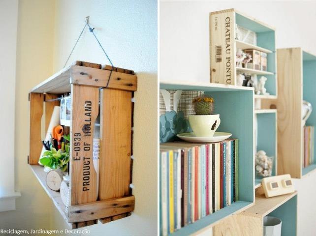 Caixa de frutas como nicho de parede. Nichos de pinos, parte interna em pátina azul