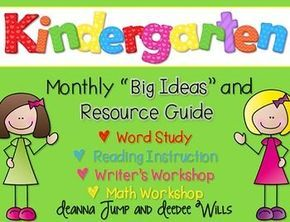 Kindergarten Curriculum Map FREEBIE! Curriculum Maps are a great way to organize your instructional thinking for the year. This freebie included a year-long plan for your word study (phonics and phonemic awareness), readers workshop, writers workshop, and