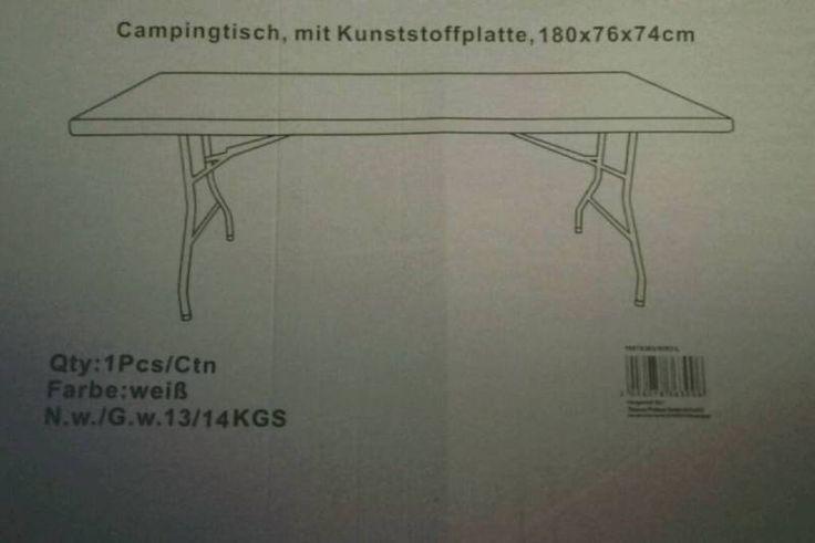 Zum Verkauf steht ein großer Garten- bzw. Campingtisch in WEISS. Er ist mit seiner durchgehenden Kunststoffplatte sehr stabil (keiner dieser wackligen Tische mit klappbarer Tischplatte).Nicht nur perfekt für Garten und Camping, sondern auch als sicherer Stand für Trödelmärkte.Maße in cm: 180 (lang) x 76 (breit) x 74 (hoch)Der Tisch wurde nur einmal benutzt (leider doch zu groß für uns). Er ist daher wie neu und wird derzeit auch in der Originalverpackung aufbewahrt (s. F...