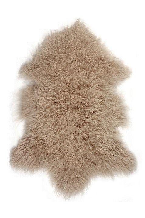 Rockwall Mongolian Sheepskin Faux Fur Single 2x3 Rug Tan