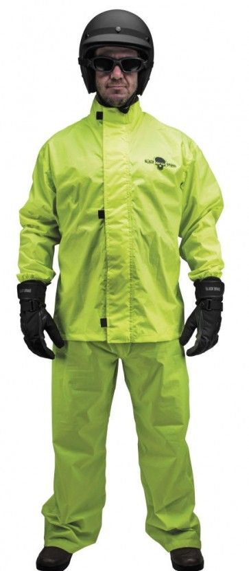 Black Brand Hi-Vis Two Piece Mens Motorcycle Street Rain Suit