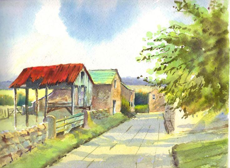 Resultado de imagen para paisajes pintados al oleo de pueblos