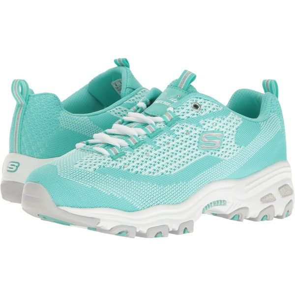 SKECHERS D'Lites - Reinvention (Mint) Women's Lace up casual Shoes ($47) ❤ liked on Polyvore featuring shoes, green, traction shoes, skechers footwear, laced shoes, laced up shoes and flexible shoes