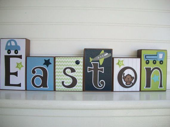 Baby+Name+Blocks.+Little+Boy.+Cars.+Planes.+by RessieLillian.Etsy.com