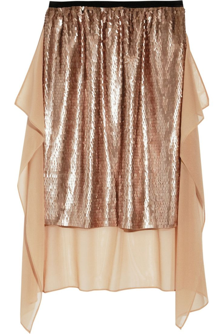 DKNY  Sequined stretch-silk skirt