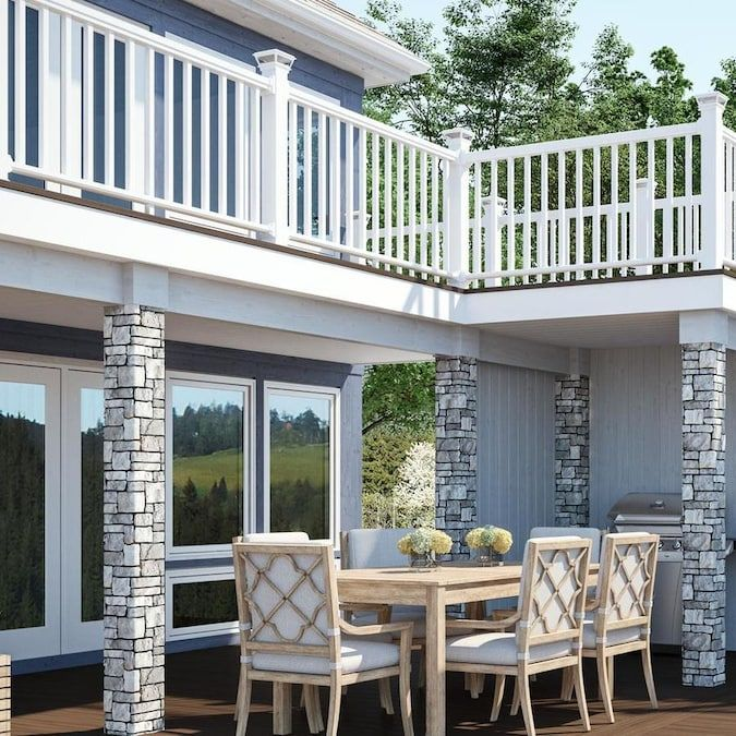 Deckorators Grab And Go 8 Ft X 2 75 In X 3 Ft White Composite Deck Rail Kit With Balusters 27 Piece And Assembly Required Lowes Com Deck Designs Backyard Deck Railing Kits Deck Design