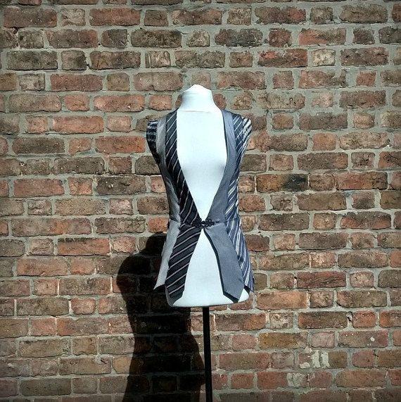 Dames gilet OOAK upcycled stropdassen zwart-wit vest eco door beWe