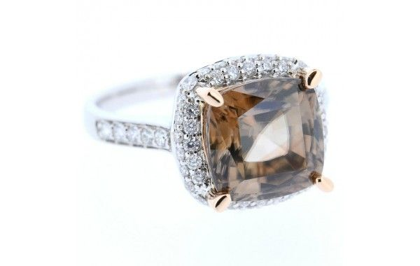 18ct white gold and diamond ring, featuring a cushion cut 'chocolate' zircon.