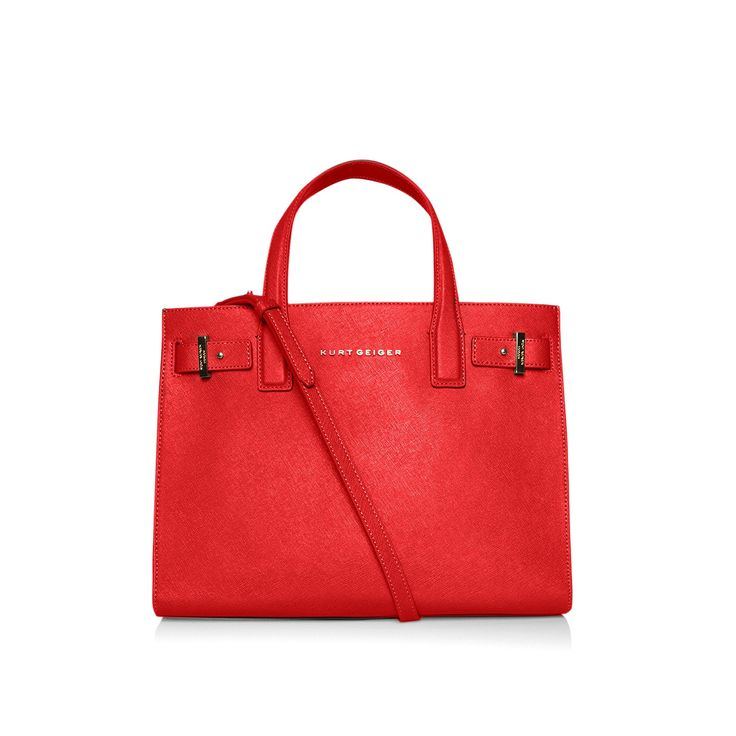 saffiano london tote, red | kurt geiger (this would make a lovely bag for the nov/dec holiday season, even carry on to jan/feb. pair it with a red wool scarf) <3