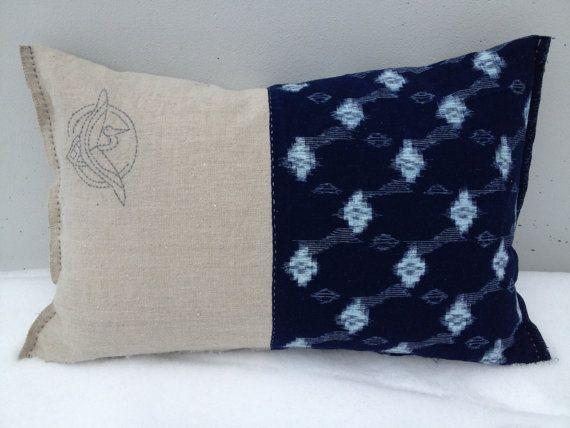 Japanese indigo kasuri ikat sashiko pillow by stockholmhearttokyo, $125.00