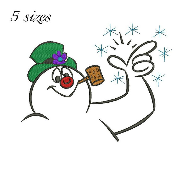 Frosty Snowman machine embroidery design digital download Christmas pattern, winter gift holidays by GretaembroideryShop on Etsy
