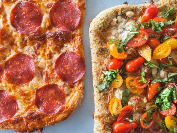 Kids will love this Basic Pepperoni Pie, and adults can indulge in the more sophisticated counterpart: four-cheese pizza topped with fresh tomato-basil salad.