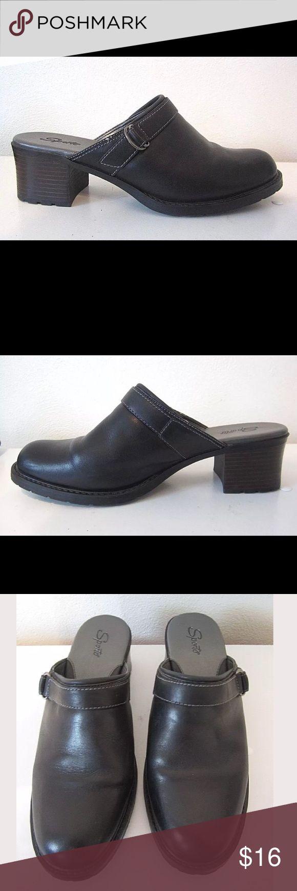 Sporto Black Leather Slip On Mules Clogs Heels 9M Sporto Black Leather Slip On Mules Clogs Heels Shoes 9M Sporto Shoes Mules & Clogs