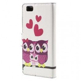 Huawei P8 Lite pöllöperhe puhelinlompakko. #pöllö #sydän #suojakuoret #huaweip8lite