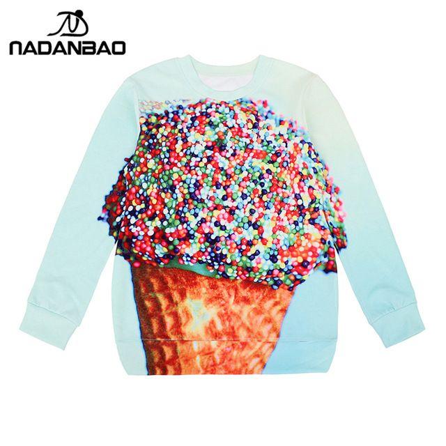 NADANBAO New Arrival Women Hoodies high quality 3D  Print Ice Cream Pullovers Sweatshirts star  Molten #Brand #nadanbao #sweaters #women_clothing #stylish_dresses #style #fashion