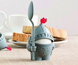 """This is Why I'm Broke"" website - full of crap nobody really needs. I really want this Medieval Knight Egg Holder."
