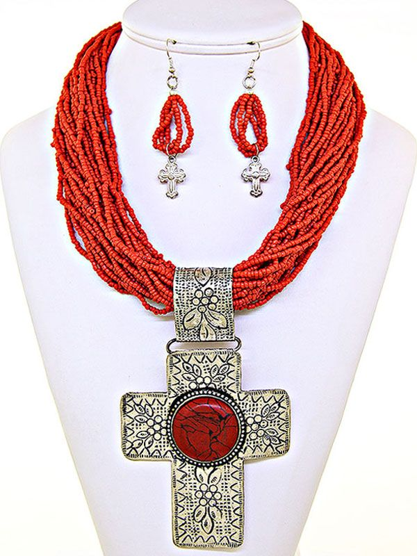Coral Cross Pendant Necklace