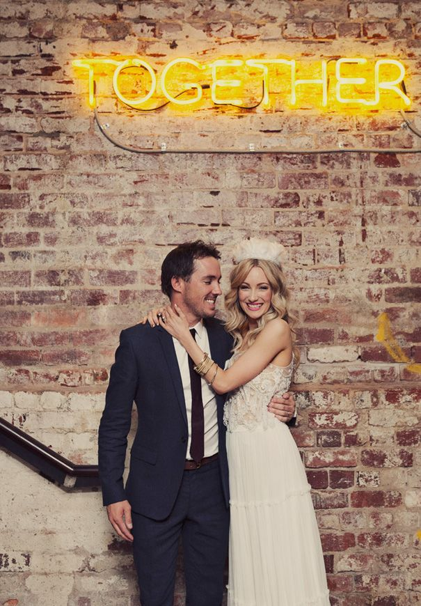 What's better than a neon sign to add this industrial-yet-colorful touch to your wedding?! Bonus: you can bring it back home afterwards and hang it somewhere nice... #bebold #wedding #neon #together #industrial