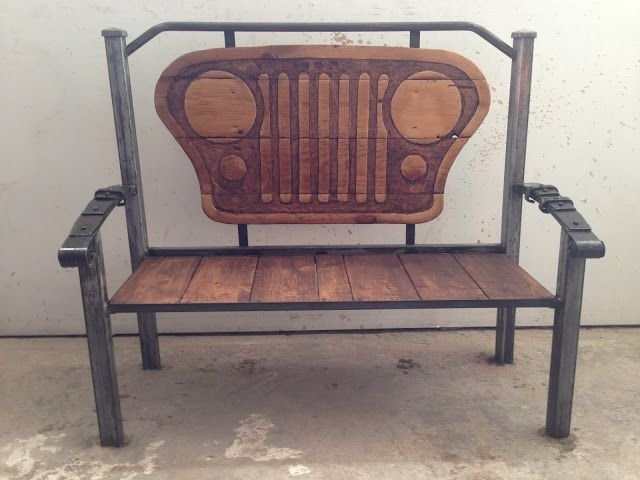 Hand Carved Jeep Grill Bench