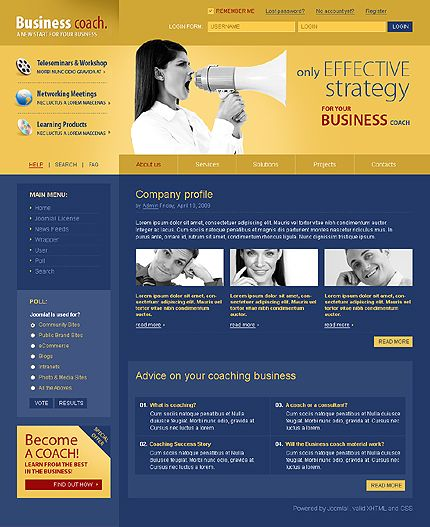 Business Coach Joomla Templates by Glenn