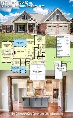 Architectural Designs Acadian House Plan 51750HZ gives you 4 beds and 2.5 baths and over 2,300 square feet of heated living space. A bonus room over the garage gives you 382 square feet of additional space and a full bath. Ready when you are. Where do YOU want to build?