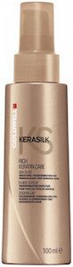 Goldwell Kerasilk Rich Keratin Care Silk Fluid. Silk fluid. Rich care for unmanageable and damaged hair. Tames unruly and frizzy hair. Provides shine, especially when applied onto dry hair. With precious keratin and silk proteins Supports the Keratin Treatment effect at home and can prolong Keratin treatment results for up to 5 months.
