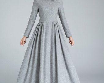 1950er jahre grau fit und flare wolle kleid frauen kleider etsy