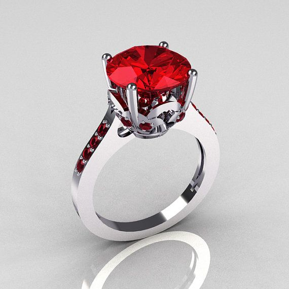 14K White Gold 3.5 Carat Red Rubies Solitaire