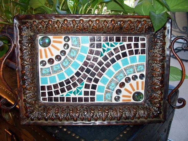 Rustic Southwestern Mosaic Tray by memoriesinmosaics on Etsy, $62.00