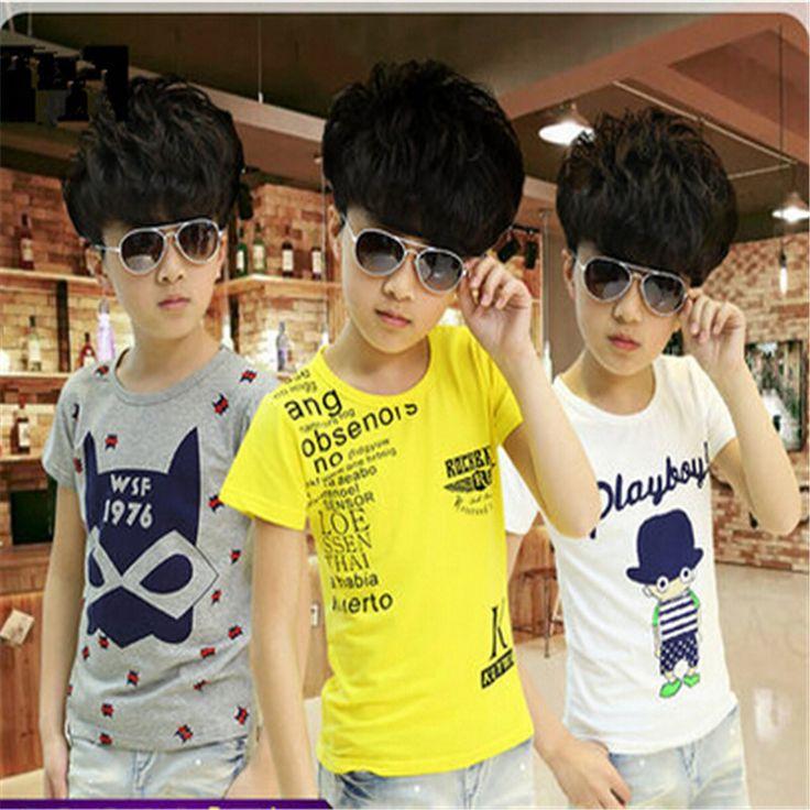 Ребенок летом ребенок мужского пола летом с коротким рукавом - рубашки ребенок мужского пола 100% с коротким рукавом хлопка майка основные мода мальчик 4 - 12 т