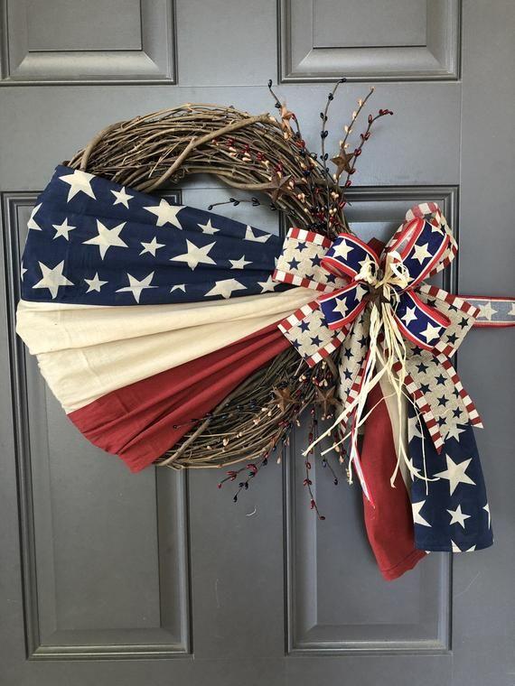 Americana Patriotic Flag Grapevine, Rustic Primitive 4th of July Front Door Decor, Kats Creations 777