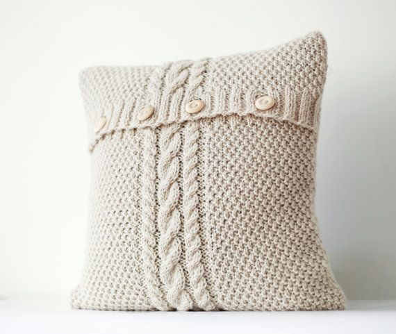 Cool Cable hand knitted pillow cover ivory decorative pillows case handmade home decor 16x16 0183 Top Design - Simple throw pillows for sofa Top Design
