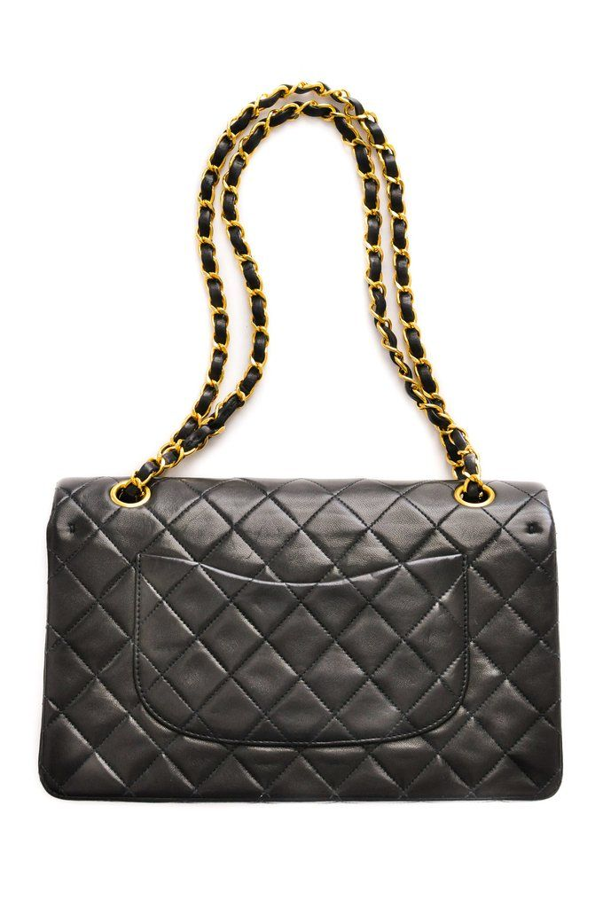 f46043cbeabb Vintage 1990s Chanel 2.55 Classic Flap Bag in Black Lambskin from Sweet &  Spark.