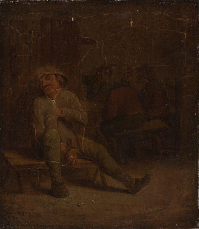 Brouwer, Adriaen, hans skole (antatt sikker), Vertshusscene. Første halvdel av 1600-tallet