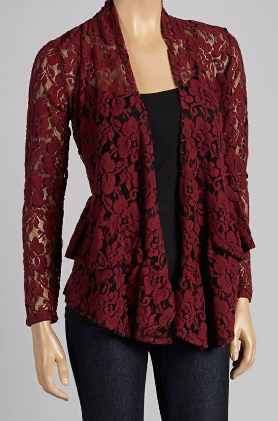 Burgundy Floral Lace Open Cardigan