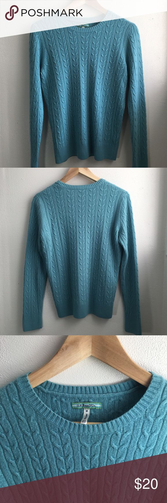 🆕 Listing!  G.H. Bass & Co Cableknit Sweater Lightweight cableknit sweater with ribbed sleeve cuffs and hem in turquoise/aqua.  Crew neck.  100% acrylic.  EUC.  Fitted M. Bass Sweaters Crew & Scoop Necks