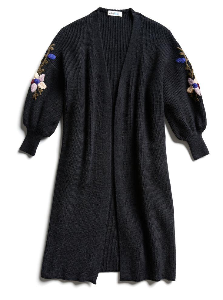 Stitch Fix Fall Stylist Picks: Black Embroidered Puff Sleeve Cardigan