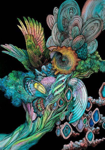 Kozue Oshima: Art Eye, Colors Combos, Art Practice, Arti Design, Art Plática, Kozu Oshima, Art Magazines, Inspiration Sketch, Inspiration Moving