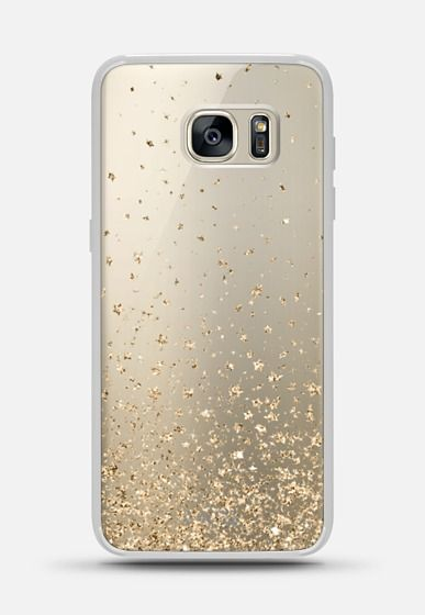 Gold Stars Rain Transparent Galaxy S7 Edge case by Organic Saturation | Casetify